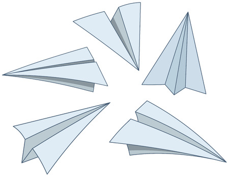 throwing paper: Cartoon paper planes Illustration