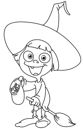 COLOURING: Outlined trick or treating witch girl