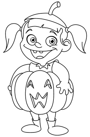 Outlined cute young girl in a pumpkin costume celebrating Halloween Vector
