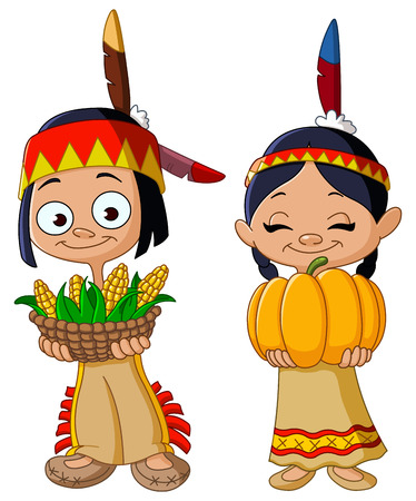 cartoon: American Indian children sharing food for Thanksgiving