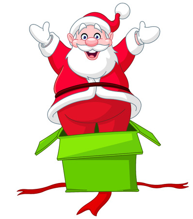 cartoon santa: Cheerful Santa Claus jumping out from a Christmas gift box Illustration