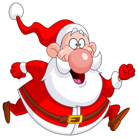 cartoon santa: Santa Claus running
