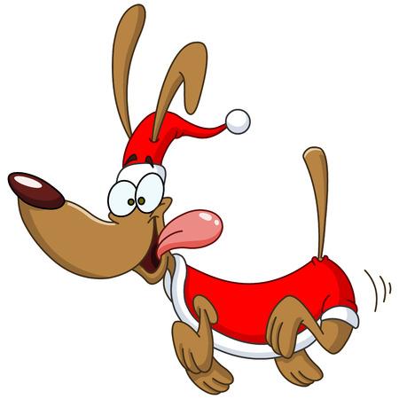 Chien courant heureux avec costume de Père Noël célébrer Noël Banque d'images - 24165572