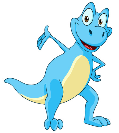 t rex: Smiling blue dinosaur presenting with his hand