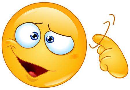 Emoticon zeigt eine Schraube locker-Zeichen durch Verdrehen seinen Finger in Tempel