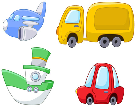 Set of cartoon transport plane, truck, ship and car Vector