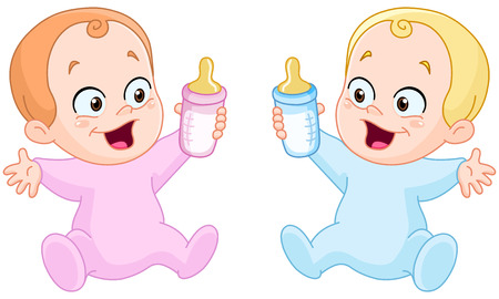 Happy baby girl and baby boy holding bottles Vector