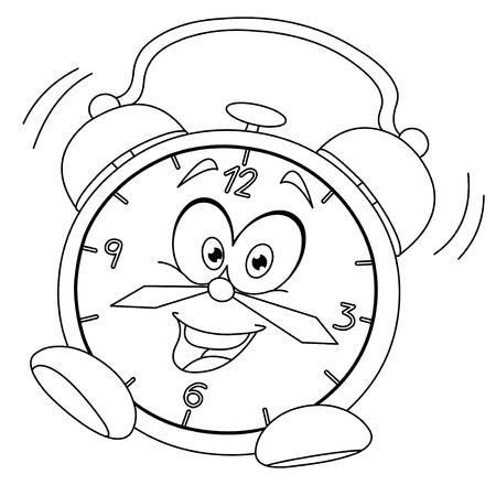 윤곽 만화 알람 시계 벡터 그림 색칠 페이지