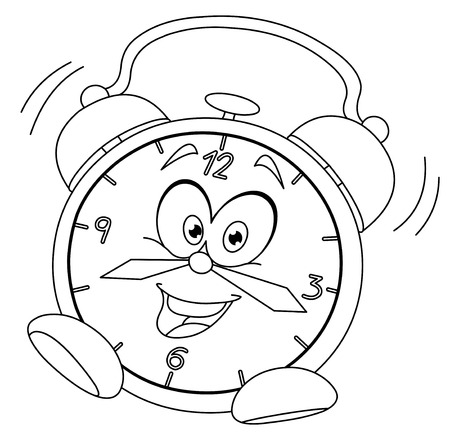 cartoon clock: Outlined cartoon alarm clock  Vector illustration coloring page