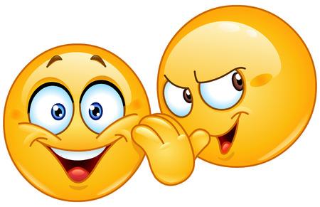 Emoticon raccontare un segreto a un altro emoticon Vettoriali