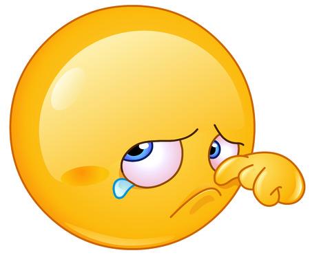 Triste lágrima de limpieza emoticon Foto de archivo - 27517277