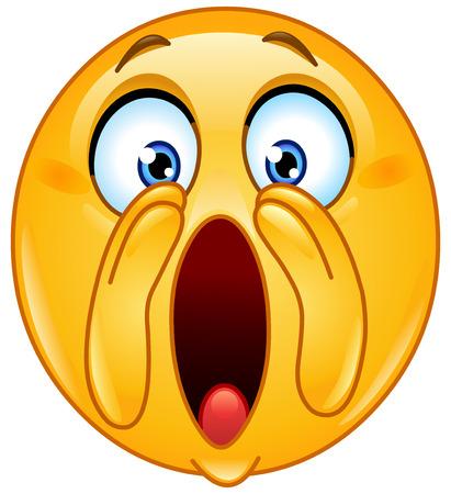 Emoticon, die Hände in der Nähe von Mund und schrie laut Standard-Bild - 27517279