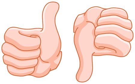 Pulgar hacia arriba y el pulgar hacia abajo gestos de la mano Foto de archivo - 27517278