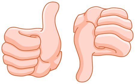 Thumb up and thumb down hand gestures Vector