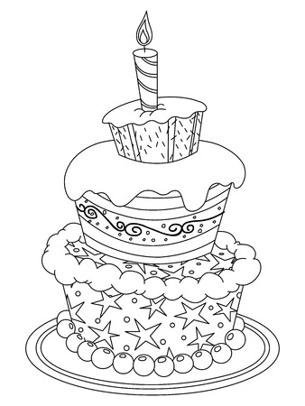 Outlined birthday cake  Vector illustration coloring page Vector