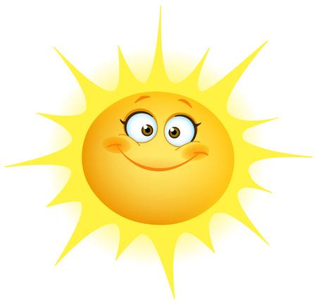 귀여운 미소 태양 일러스트