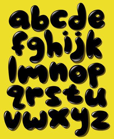 Black lower case bubble alphabet set Vector