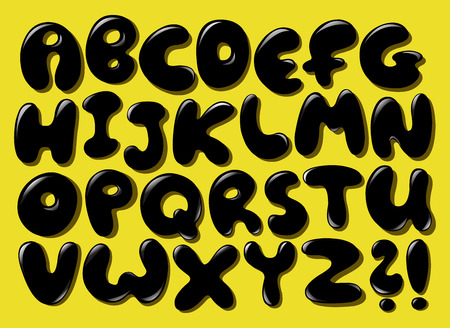 typeset: Black bubble alphabet set