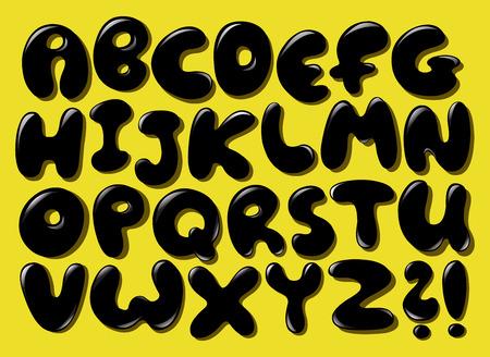 Black bubble alphabet set
