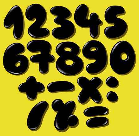 Black bubble numbers set Vector