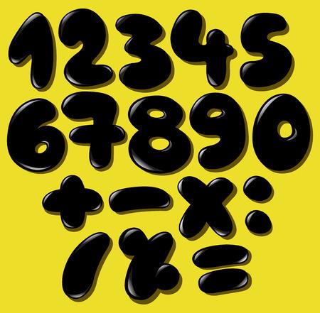 doodle art clipart: Black bubble numbers set