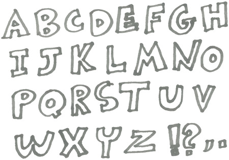 hand drawn marker alphabet Vector