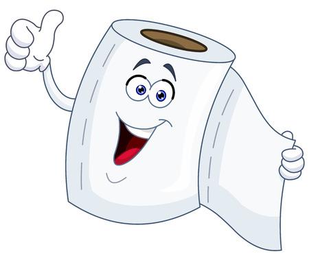 Toiletpapier cartoon met duim omhoog