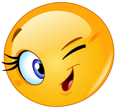 Female emoticon winking 向量圖像