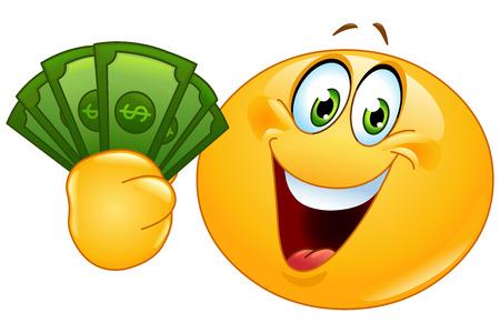 Šťastný smajlík drží dolarové bankovky