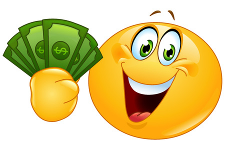 Happy emoticon holding dollar bills