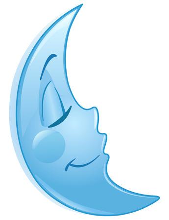 caras emociones: Dormir luna Vectores