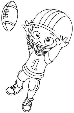 dibujos para colorear: Chico de fútbol Ilustración vectorial Colorear Contorno Vectores