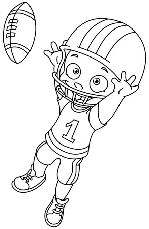 Outlined football kid  Vector illustration coloring page
