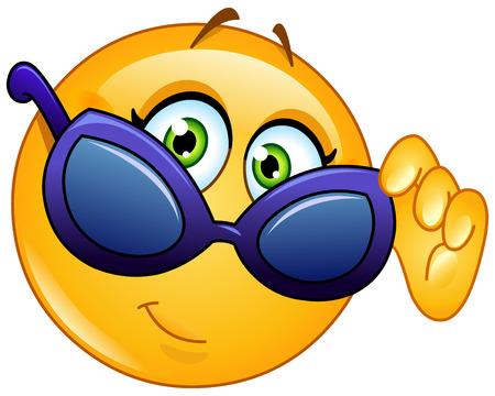 ojos caricatura: Emoticon Mujer mirando por encima de las gafas de sol