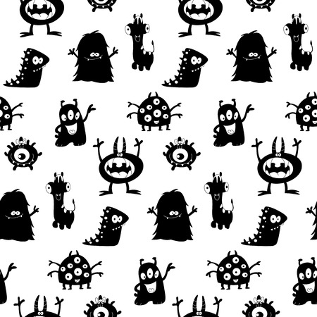Cute monsters silhouettes seamless pattern Vector