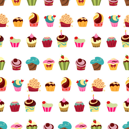 birthday backdrop: Colorful cupcakes seamless pattern Illustration