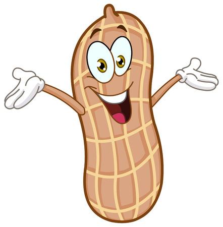 erdnuss: Gl�ckliche Erdnuss Karikatur hob die Arme