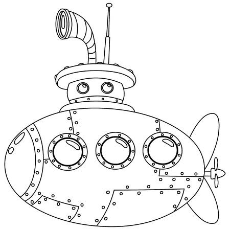 submarino: Submarino Ilustración vectorial Colorear Contorno