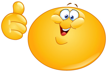 Fat emoticon showing thumb up Vector