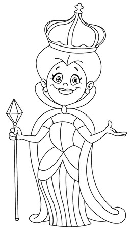 Outlined queen illustration coloring page