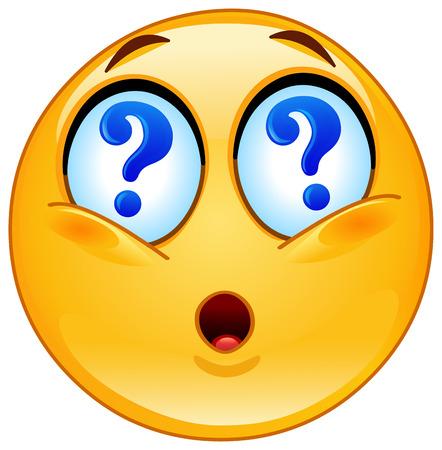 las emociones: Emoticon con signos de interrogaci�n en los ojos Vectores