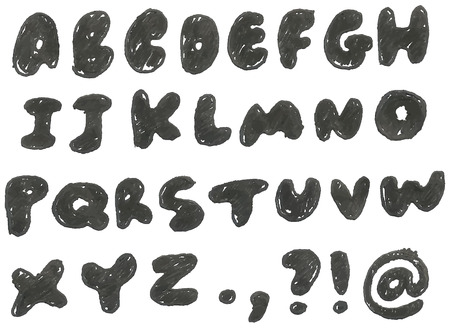 exclamation: hand drawn blackened alphabet