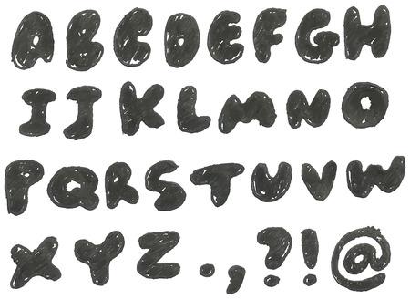 pen and marker: hand drawn blackened alphabet
