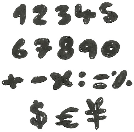 hand drawn blackened numbers and math signs Vector