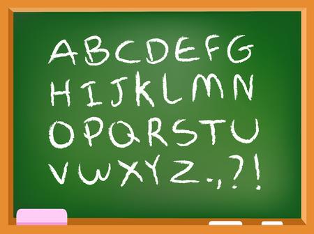 Hand drawn chalk alphabet on a chalkboard Vector