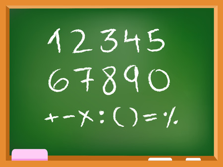 Hand drawn chalk numbers and math signs on a chalkboard Vector