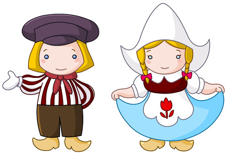 costumes: Traditional Dutch couple cartoon Illustration