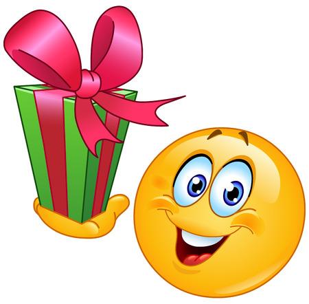 cara de alegria: Emoticon con el regalo Vectores
