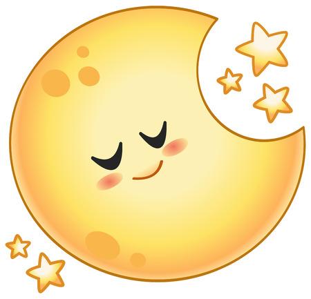 Cartoon sleeping moon with stars