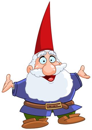 幸せな gnome の彼の腕を上げる